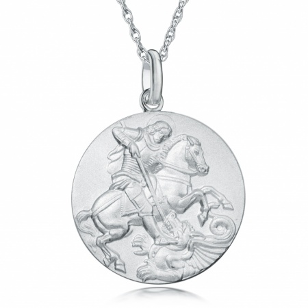 Saint George & The Dragon Necklace, Sterling Silver, Double Sided