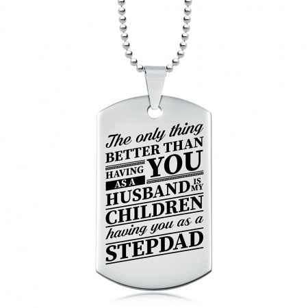 Stepdad to my Children Dog Tag Necklace, Personalised