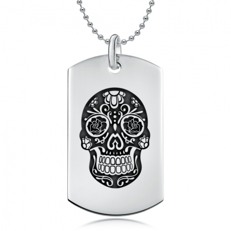 Sugar Skull, Day of the Dead Dog Tag, Personalised, Sterling Silver