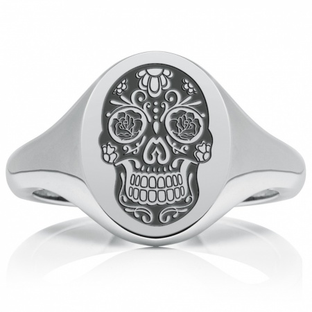 Sugar Skull Day Of The Dead Signet Ring Mens