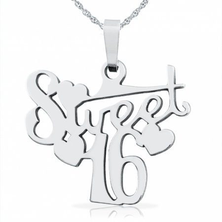 Sweet 16 Necklace, Sterling Silver, 16th Birthday