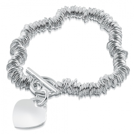Ladies Sweetie/Link T-Bar Heart Bracelet, Free Engraving & Delivery, Sterling Silver