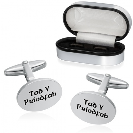 Tad Y Priodfab Cufflinks, (Welsh Father of the Groom), Oval Silver Plated