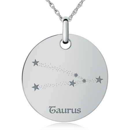 Taurus Constellation Necklace, Personalised / Engraved, 925 Sterling Silver