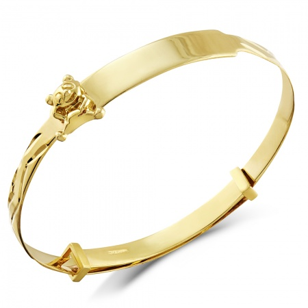Teddy Bear Babies Bangle, 9ct Gold, Personalised / Engraved