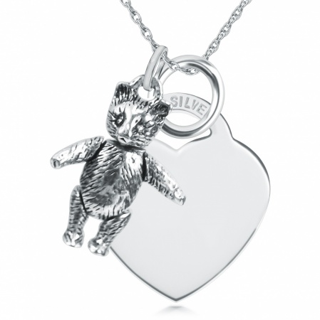 Moveable Teddy Bear & Heart Shaped Sterling Silver Necklace (can be personalised)