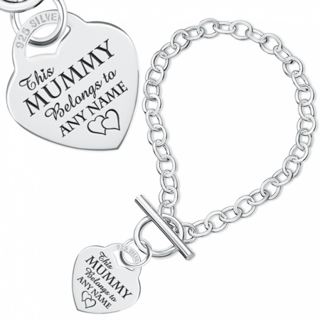 This Mummy Belongs To Bracelet, Personalised, Sterling Silver