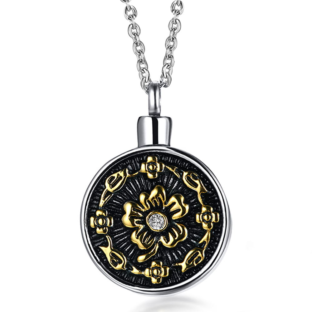Flower Ashes Locket Necklace, with Personalisation, Gold, Silver & Black