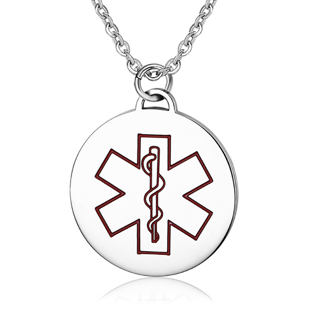Medical Alert Necklace, Red EMS, Personalised, Mens and Womens, Round