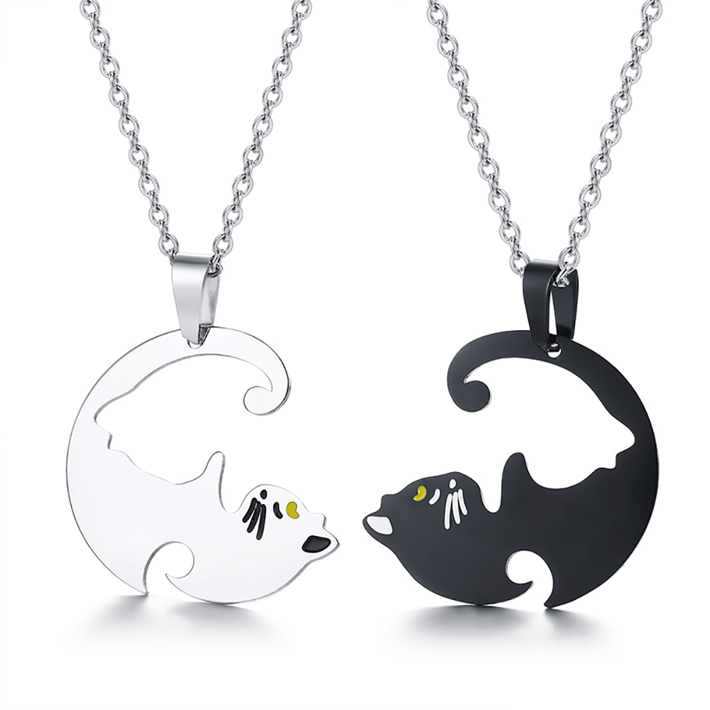 Double Sharing Cat Necklace, Personalised, Black and White