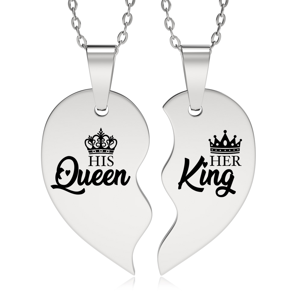 His Queen, Her King Necklaces, Personalised, Split Heart, Sharing, Couple