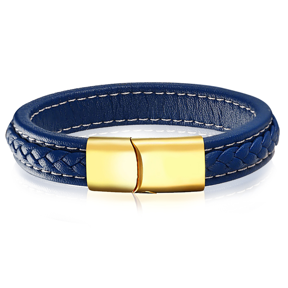 Mens Blue Leather & Gold Identity Bracelet, Personalised, Genuine Leather