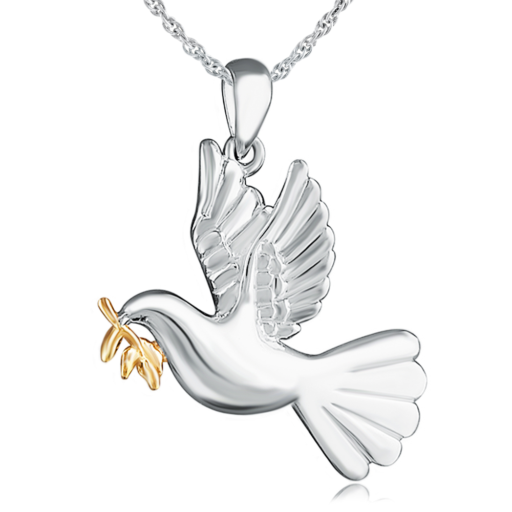 Holy Dove of Peace Necklace, Sterling Silver