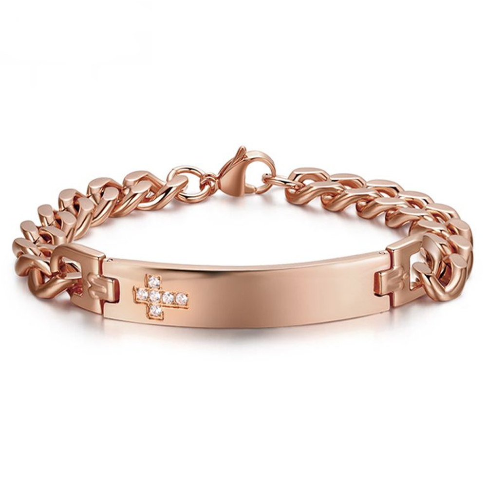 Mens Cross Identity Bracelet, Rose Gold, with Cubic Zirconia