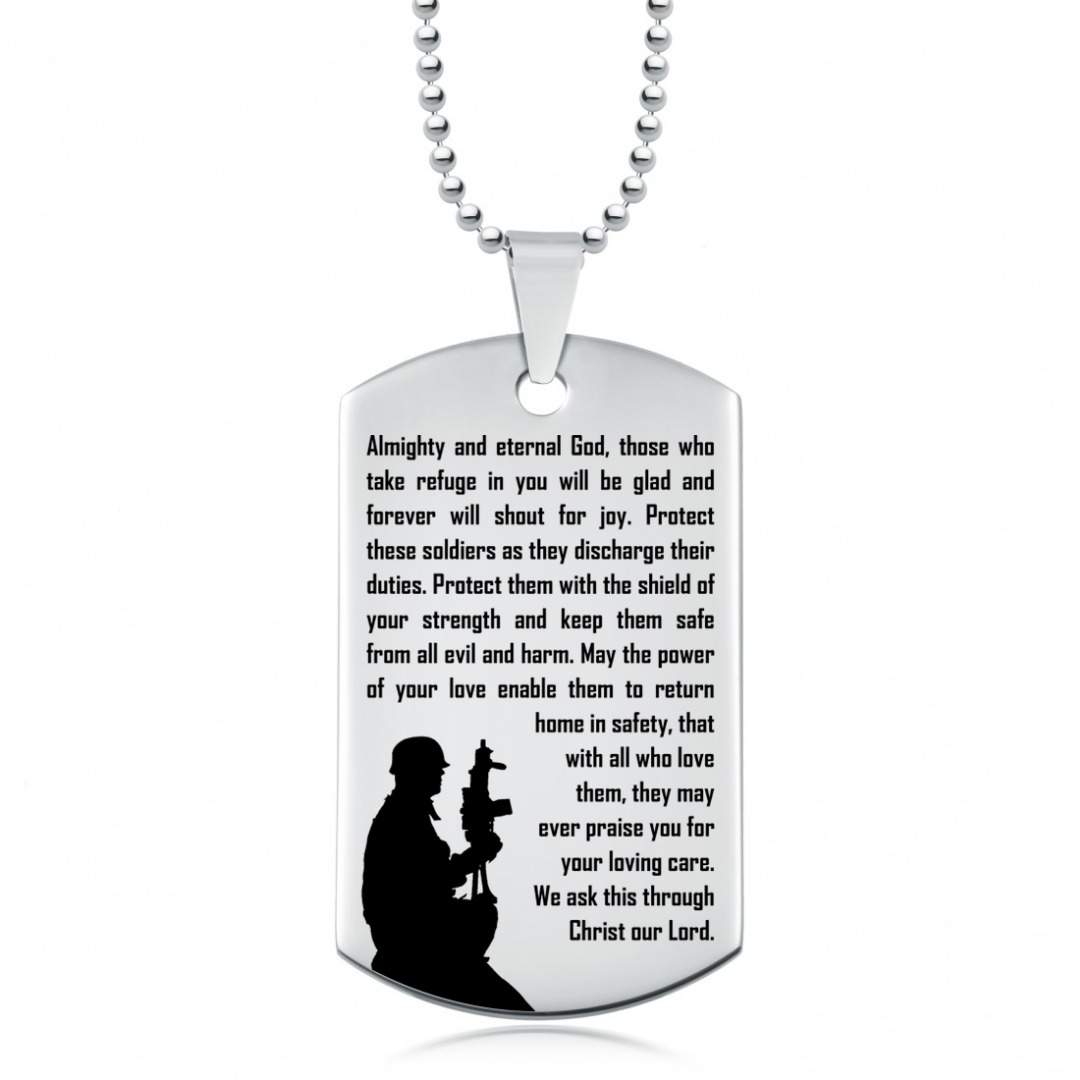 Soldiers Prayer Dog Tag, Personalised, Keep Them Safe