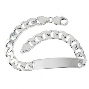 Gents 8mm wide 9.5 inches (24cm) Hallmarked ID Curb Sterling Silver Bracelet (can be personalised)