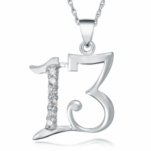 13th Birthday Necklace, CZ & Sterling Silver
