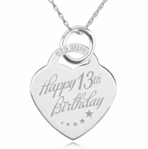 13th Birthday Stars Design Heart Shaped Sterling Silver Necklace (can be personalised)