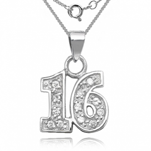 16th Birthday Sterling Silver & Cubic Zirconia Necklace