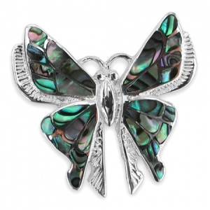 Butterfly Sterling Silver, Oyster Shell Brooch