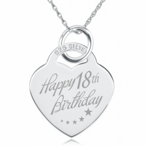 18th Birthday Heart Necklace, Free Engraving & Delivery, Sterling Silver