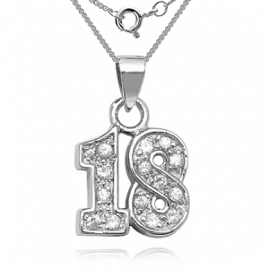 18th Birthday Sterling Silver & Cubic Zirconia Necklace