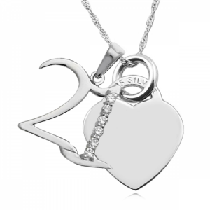 21st Birthday Heart Necklace Personalised/Engraved