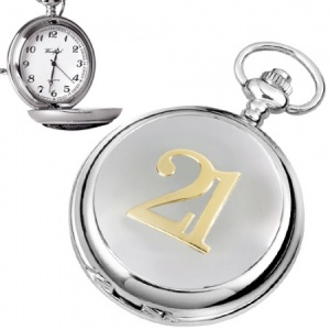 21st Birthday Chrome Quartz Pocket Watch (can be personalised)