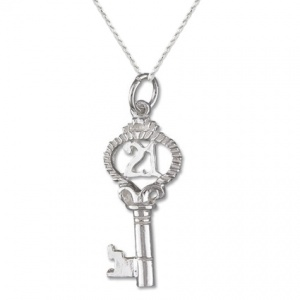 21st Fancy Birthday Sterling Silver Key Necklace