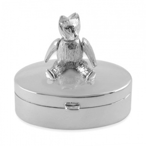Teddy Bear Oval Sterling Silver Trinket/Pill Box (can be personalised)