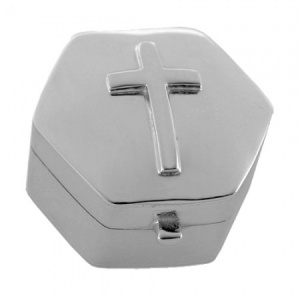 Raised Cross Hexagonal Sterling Silver Trinket/Pill Box