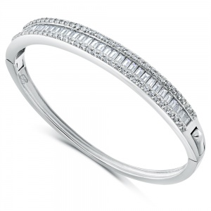 3 Row Baguette CZ Babies Bangle, Sterling Silver