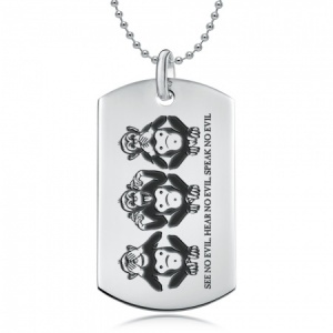 3 Wise Monkeys Dog Tag, Personalised, Sterling Silver
