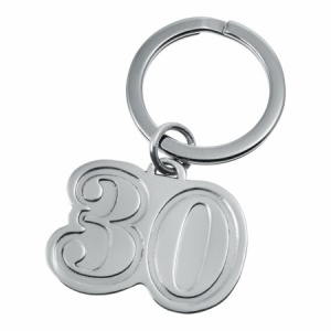 Number 30 Keyring, 30th Birthday, Personalised, 925 Sterling Silver