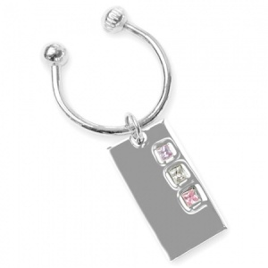 Lilac, Pink and White Cubic Zirconia Sterling Silver Screwball Keyring (can be personalised)