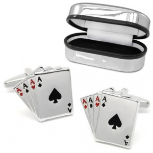 Four Aces Playing Cards Cufflinks, with Chrome Box (can be personalised)