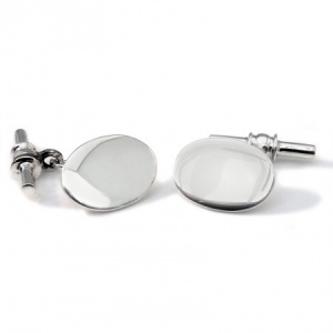 Oval Sterling Silver Cufflinks with Chain & Bar (can be personalised)