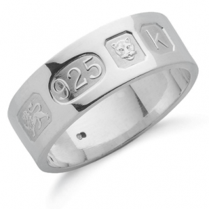 8mm Flat Feature Hallmarked Wedding Band, Personalised