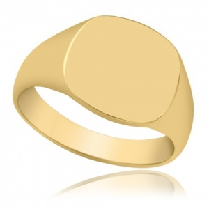 Mens 9ct Gold Cushion Signet Ring, Personalised, Yellow Gold, Hallmarked