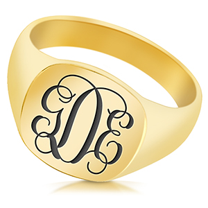 Monogram Signet Ring, Personalised, 9ct Yellow Gold, Hallmarked, Cushion