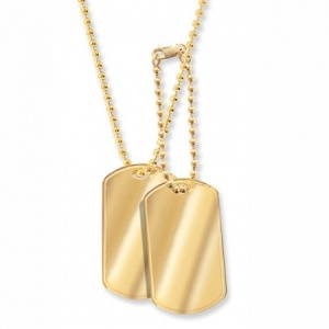 9ct Yellow Gold Double Dog Tags with Chain (can be personalised)
