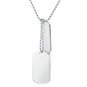 9ct White Gold Double Dog Tags with Chain (can be personalised)
