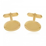 9ct Yellow Gold Cufflinks, Oval T-Bar (can be personalised)