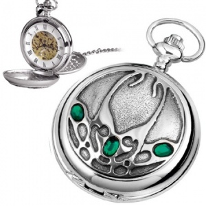 Archibald Knox Style Pewter Mechanical Skeleton Pocket Watch (can be personalised)