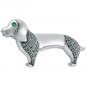 Dachshund Dog Brooch, Sterling Silver