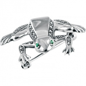 Frog Brooch, Marcasite, Emerald & Sterling Silver