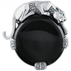Panther Brooch, Onyx Sterling Silver, Windsor Collection
