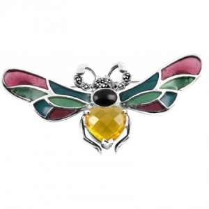 Bumble Bee Brooch, Coloured Enamel & Sterling Silver