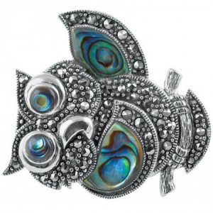Owl Brooch, Abalone Shell & Sterling Silver