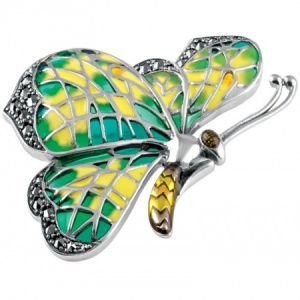 Butterfly Brooch, Enamel and Sterling Silver